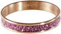 Quiges Stapelring Ring - Vulring Roze Glitter - Dames - RVS roségoud - Maat 19 - Hoogte 4mm
