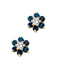 The Jewelry Collection Oorknoppen Saffier En Zirkonia - Geelgoud