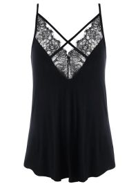 Plus Size Lace Panel Criss Cross Tank Top