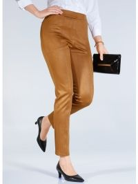 Broek van imitatieleer m. collection Hazelnoot