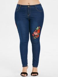 Plus Size Flower Applique Skinny Jeans