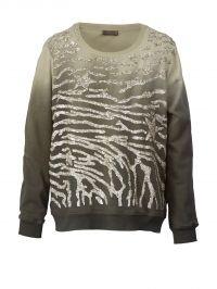 Sweatshirt OpenEnd kaki/zilverkleur