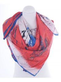 Rode zijden sjaal met een geschilderde print 'van een haven''