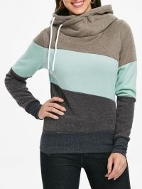 Casual Color Block Long Sleeves Hoodie For Women