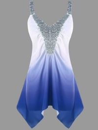 Plus Size Asymmetric Sequins Ombre Tank Top