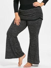 Plus Size Marled Foldover Flare Pants