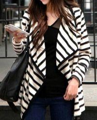 Stripe Cardigan Long Sleeve Thin Cotton Jacket Coat
