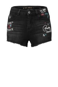 skinny fit jeans short met tekstopdruk zwart