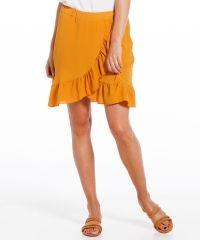Dames Overslag rok met ruches geel in maat XL