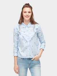 TOM TAILOR DENIM Blouse met ruches en borduursel, Dragonfly Allover Embroidery, S