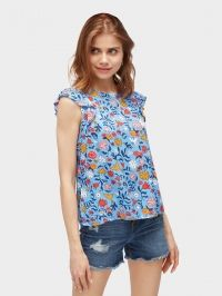 TOM TAILOR DENIM Blouse met ruches aan de mouwen, Colorful Flower Alloverprint L, L