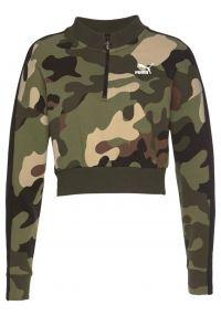 PUMA, Dames Sweatshirt 'WILD PACK T7 CROPPED CREW', beige / bruin / kaki