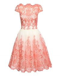 Chi Chi London, Dames Cocktailjurk 'ANNIE DRESS', pink / wit
