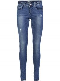 ONLY Coral Superlow Destroyed Skinny Jeans Dames Blauw