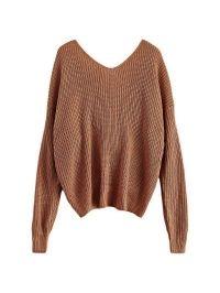 V Neck Twisted Back Sweater