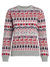 PIECES Longsleeved Kerst Trui Dames White