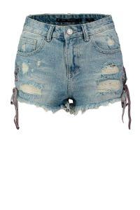 skinny fit jeans short met slijtage blauw