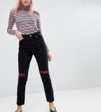 Monki - Kimono - Girl Power-mom jeans - Zwart