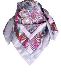 Lichtgrijs satijnen sjaaltje met bloemenprint