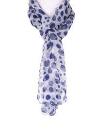 Wit/ donkerblauw voile polka dot sjaaltje