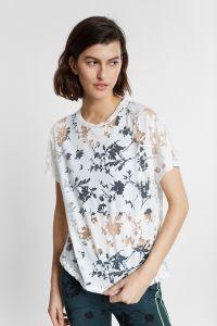 Biologisch gebloemd T-shirt met ausbrenner-effect en halfdoorschijnende details - WHITE - L