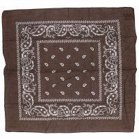 Bruin sjaaltje met paisley motief 55 x 55 cm