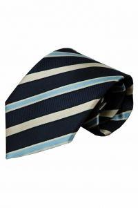 Blauwe zijden stropdas Penne 01