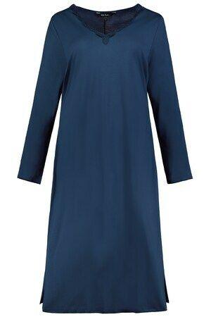 Ulla Popken Nachthemd, V-hals, lange mouwen - Grote Maten