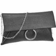 Zwarte clutch zilveren ring Graceland maat