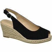 Zwarte sude sandalette sleehak 5th Avenue maat 40