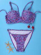Sexy Strappy Printed Underwire Bikini Set For Women