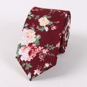 Vintage Floral Printed Cotton Neck Tie