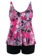 Padded High Waisted Floral Plus Size Tankini Set