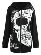 Zip Plus Size Skull Halloween Hoodie