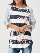 Raglan Sleeve Floral Striped T-shirt