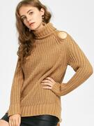 Turtleneck Cut Out Chunky Sweater