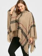 Asymmetric Turtleneck Plus Size Print Cape Sweater