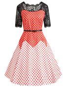 Plus Size Color Block Polka Dot Vintage Gown Dress