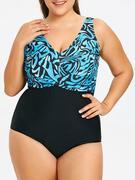 Plus Size Print Twist One Piece Swimwear