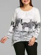 Plus Size Zebra Print Long Sleeve Tee