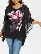 Round Neck Plus Size Floral Print Blouse