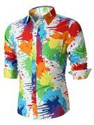 Colorful Paint Splatter Long Sleeve Shirt