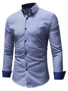 Classic Vertical Stripes Contrast Button Down Shirt