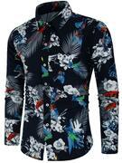 Animal Flower Print Long Sleeve Shirt