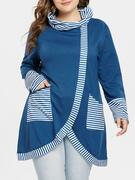 Striped Panel Cowl Neck Slit Plus Size Sweatshirt