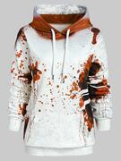 Plus Size Halloween Splatter Kangaroo Pocket Hoodie