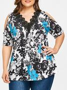 Lace Collar Plus Size Floral Print T-shirt
