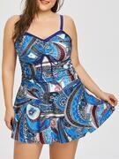 Paisley Plus Size Swimdress with Boyshorts Swimwear