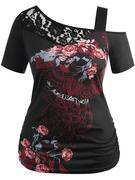 Plus Size Lace Trim Skew Collar T-shirt