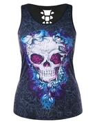 Plus Size Cutout Skull Butterfly Print Summer Top